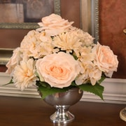 Floral Home Decor Rose and Hydrangea Flower Arrangement in Bowl