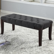 Roundhill Furniture Linion Bedroom Bench; Gray Fabric