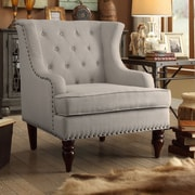 iNSTANT HOME Jewel Tufted Wingback Club Chair; Beige