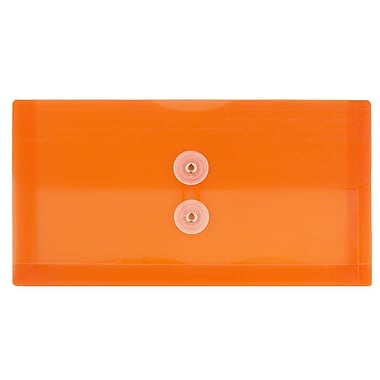JAM Paper® #10 Plastic Envelopes with Button and String Tie Closure, 5.25 x 10, Orange Poly, 108/Pack (921B1ORB)