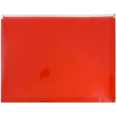 JAM Paper® Plastic Envelopes with Zip Closure, Letter Booklet, 9.5 x 12.5, Red Poly, 12/pack (218Z1RE)