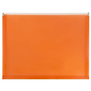 JAM Paper® Plastic Envelopes with Zip Closure, Letter Booklet, 9.5 x 12.5, Orange Poly, 12/pack (218Z1OR)