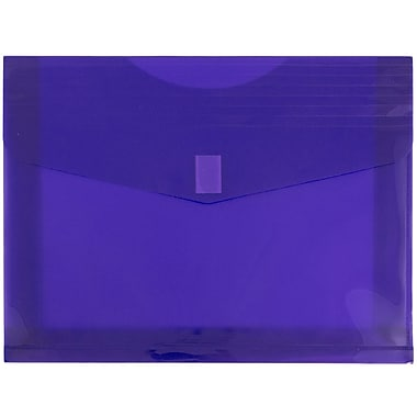 JAM Paper® Plastic Envelopes with VELCRO® Brand Closure, 2 Expansion, Letter Booklet, 9.75 x 13, Purple Poly, 12/Pack (218V2pu)