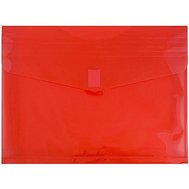 JAM Paper® Plastic Envelopes with VELCRO® Brand Closure, 2 Expansion, Letter Booklet, 9.75 x 13, Red Poly, 12/pack (218V2RE)