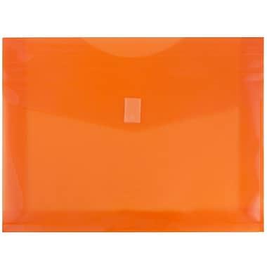 JAM PaperMD – Enveloppes en plastique avec fermeture autoagrippante, exp. de 2 po, 9 3/4 x 13 po, orange, 12/pqt