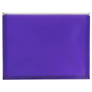 JAM Paper® Plastic Envelopes with Zip Closure, Letter Booklet, 9.5 x 12.5, Purple Poly, 12/pack (218Z1PU)