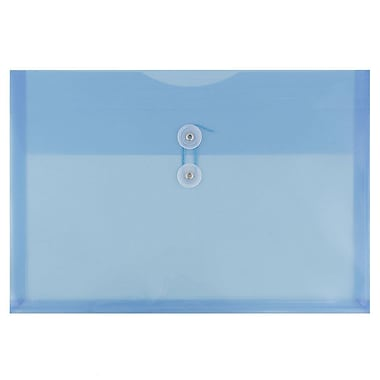 JAM Paper® Plastic Envelopes with Button and String Tie Closure, Legal Booklet, 9.75 x 14.5, Blue Poly, 12/pack (219B1BU)