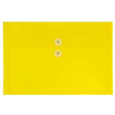 JAM Paper® Plastic Envelopes with Button and String Tie Closure, Legal Booklet, 9.75 x 14.5, Yellow Poly, 12/Pack (219B1YE)