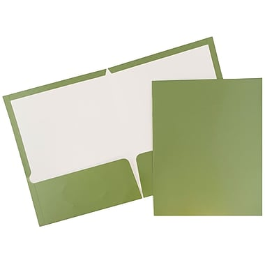 JAM Paper® Glossy Two Pocket Presentation Folders, Leaf Green, 100/pack (V0312405B)
