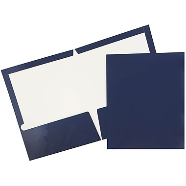 JAM Paper® Glossy Two Pocket Presentation Folders, Navy Blue, 100/Pack (5042523B)