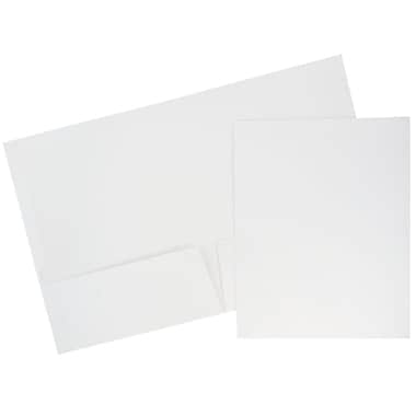 JAM Paper® Glossy Two Pocket Presentation Folders, White, 6/pack (385GWHA)