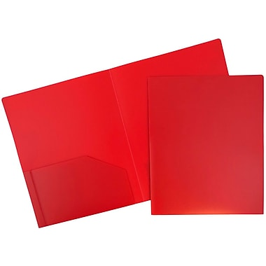 JAM Paper® Plastic Heavy Duty Two Pocket Folders, Red, 6/pack (383HRED)
