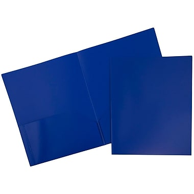 JAM Paper® Plastic Eco Two Pocket Folder, Blue, 12/Pack (86524dpbudg)