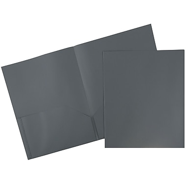 JAM Paper® Plastic Eco Two Pocket Folders, Grey, 6/pack (382EGYD)