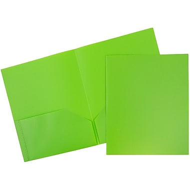 JAM Paper® Plastic Eco Two Pocket Folder, Lime Green, 12/Pack (86524ligrdg)