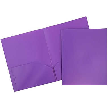 JAM Paper® Plastic Eco Two Pocket Folder, Purple, 12/Pack (86524pudg)