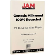 JAM Paper® Recycled Legal Paper, 8.5 x 14, 28lb Milkweed Ivory, 100/pack (13215266)