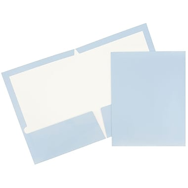 JAM Paper® Glossy Two Pocket Presentation Folders, Baby Blue, 12/Pack (31225346ug)