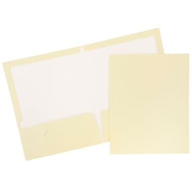 JAM Paper® Glossy Two Pocket Presentation Folders, Ivory, 100/Pack (385GIVB)