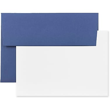 JAM Paper® Stationery Set, 50 White Cards and 25 A7 Envelopes, Presidential Blue, 4 packs of 25 (304624620g)