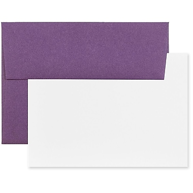 JAM Paper® Stationery Set, 50 White Cards and 25 A6 Envelopes, Dark Purple, 4 packs of 25 (304624607g)