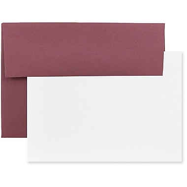JAM Paper® Stationery Set, 50 White Cards and 25 A7 Envelopes, Burgundy, 4 packs of 25 (304624592g)