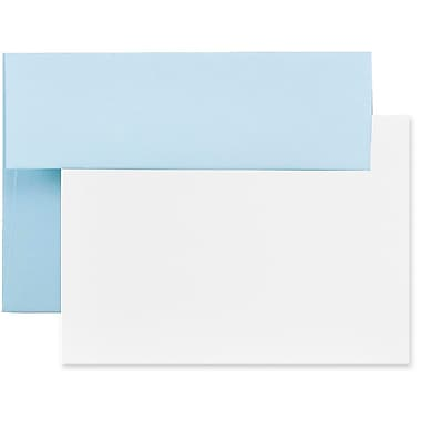 JAM Paper® Stationery Set, 50 White Cards and 25 A7 Envelopes, Baby Blue, 4 packs of 25 (304624580g)
