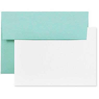 JAM Paper® Stationery Set, 50 White Cards and 50 A2 Envelopes, Aqua Blue, 4 packs of 25 (304624574g)