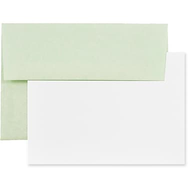 JAM Paper® Recycled Parchment Stationery Set, 25 Cards and 25 4bar A1 Envelopes, Green, 4 packs of 25 (304624553g)
