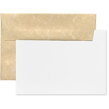 JAM Paper® Recycled Parchment Stationery Set, 25 Cards and 25 A2 Envelopes, Brown, 4 packs of 25 (304624550g)