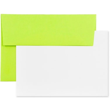 JAM Paper® Stationery Set, 50 White Cards and 25 A7 Envelopes, Brite Hue Ultra Lime Green, 4 packs of 25 (304624516g)