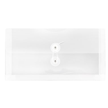 JAM Paper® #10 Plastic Envelopes with Button and String Tie Closure, 5.25 x 10, Clear Poly, 24/Pack (921B1clg)