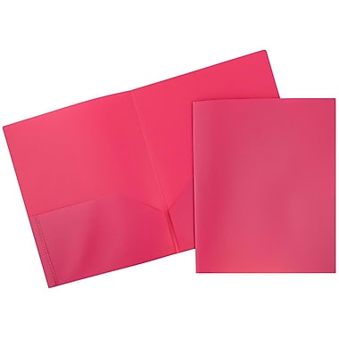 JAM Paper® Plastic Eco Two Pocket Folder, Pink, 12/Pack (86524pidg)