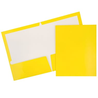 JAM Paper® Glossy Two Pocket Presentation Folders, Yellow, 12/Pack (385Gyeag)