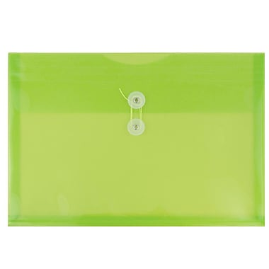 JAM Paper® Plastic Envelopes with Button and String Tie Closure, Legal Booklet, 9.75 x 14.5, Lime Green, 12/pack (219B1LIGR)