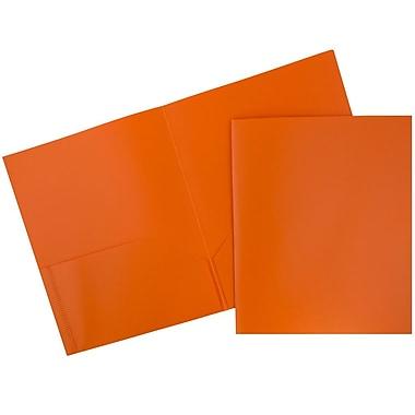 JAM PaperMD – Chemises d'école en plastique biodégradable, 9 1/2 x 11 1/2 po, orange, paquet de 12