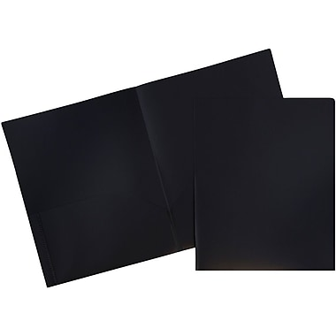 JAM Paper® Plastic Eco School Two Pocket Folders, Black, 96/Pack (382EBLB)