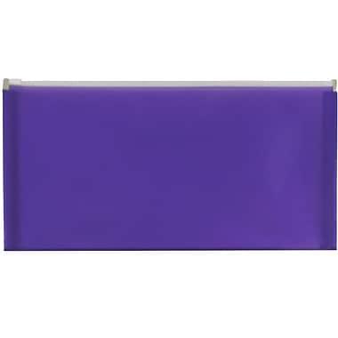 Jam Paper – Enveloppe de plastique de style livret à fermeture à glissière, no 10 (5 x 10 po), violet, 12/paquet