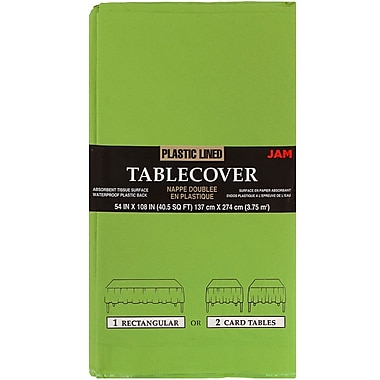 JAM Paper® Paper Table Covers, Lime Green Table Cloths, Sold Individually (291323333)