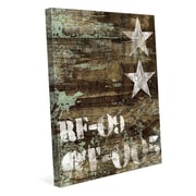 Click Wall Art 'RF-09 Typography and Stars' Graphic Art on Wrapped Canvas; 36'' H x 24'' W x 1.5'' D
