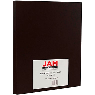 JAM Paper® Matte Paper, 8.5 x 11, 32lb Black Linen Recycled, 50/pack (11130)