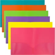 JAM Paper® Plastic 2,Pocket Folders, Eco Friendly Folder, Assorted Fashion Colors, 6/pack Folders (383EFassrt)