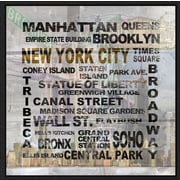 Green Leaf Art 'New York City' Framed Textual Art on Canvas; 12'' H x 12'' W x 1.5'' D