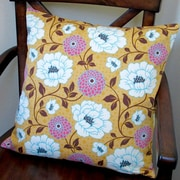 Artisan Pillows Bungalow Dahlia Flowers Modern Indoor Pillow Cover; Honey Orange