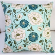 Artisan Pillows Bungalow Dahlia Flowers Modern Indoor Pillow Cover; Forest Blue