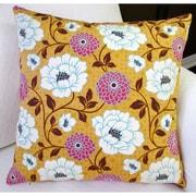 Artisan Pillows Bungalow Dahlia Flowers Modern Indoor Cotton Throw Pillow; Honey Orange