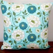 Artisan Pillows Bungalow Dahlia Flowers Modern Indoor Cotton Throw Pillow; Forest Blue