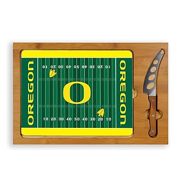 Picnic Time NCAA Football Icon Cutting Cheese Tray; University Of Oregon Ducks