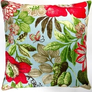Artisan Pillows Butterfly Garden Flowers in Modern Cottage Floral Indoor Cotton Throw Pillow