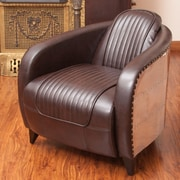 Home Loft Concepts Manado Channeled Leather and Metal Club Chair